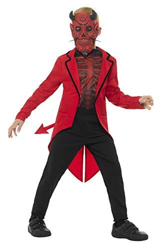 Smiffys Kinder Jungen Deluxe Tag der Toten Teufel Kostüm, Maske, Jacke und Oberteil, Alter: 10-12 Jahre, 45122