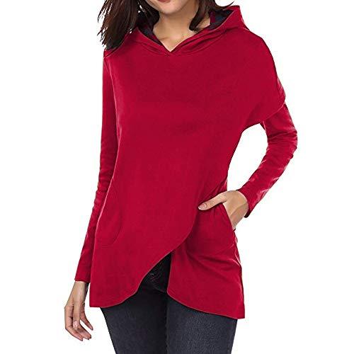 OSYARD Damen Plaid Patchwork Asymmetrische Kapuzenpullover, Frauen Langarm Plaid Hoodies Asymmetrische Saum Pullover Sweatshirt Tops (M, Rot)
