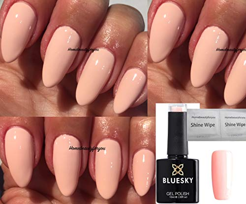 BLUESKY A82 Light Peach Nagellack-Gel UV-LED-Soak Off 10 ml plus 2 homebeautyforyou Shine Tücher
