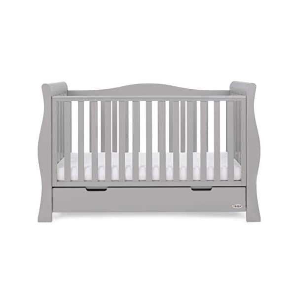 Obaby Stamford Luxe Sleigh Cot Bed, Warm Grey Obaby Adjustable 3 position mattress height Sides remove to transform into toddler bed Includes matching under drawer for storage 8