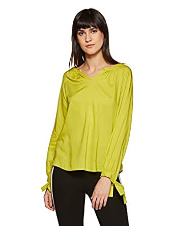 Amazon Brand - Symbol Women's Plain Regular Fit Top (SS18SYMWBL102-Lemon-S)
