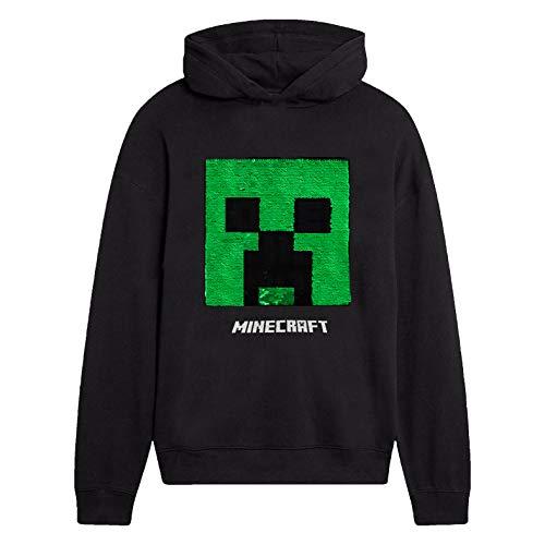 Minecraft Jungen Creeper Hoodie, Kapuzenpullover Kinder, Schwartz Hoodie, Pullover warm mit Pailletten Sweatshirts Für Jungen Mit Langen Ärmeln Und Kapuze mit Creeper-Motiv (13/14 Jahre)
