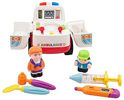 Ambulance Rescue Vehicle Bump and Go with Various Medical Equipment, Lights Music and Medical Sounds by Wishtime Toy