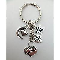 LOVE HEART KEYRING Granny Gem Charm Pendant