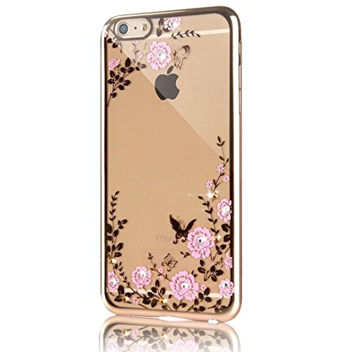 iPhone 6s Plus Hülle, iPhone 6 Plus Hülle, Vandot Ultra Thin TPU Silikon Schutzhülle für iPhone 6s Plus / 6 Plus Case Cover Plating Glänzend Transparent Luxus Diamant Rhinestone Bling Muster Pattern T Color 18