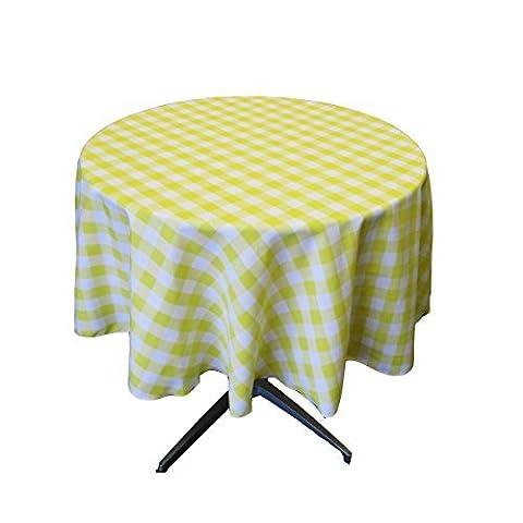 LA Linen Poly Checkered Round Tablecloth, 58-Inch, Light yellow/White by LA Linen