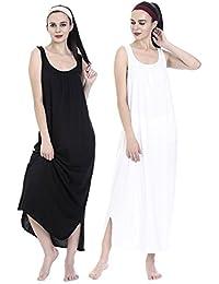 Avaatar Women's Cotton Nighty Slip - Set Of 2 ( Black & White )