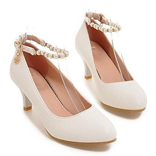 TAOFFEN Damen Mode Kitten Heel Pumps Mit Schnalle Office Schuhe Weiß