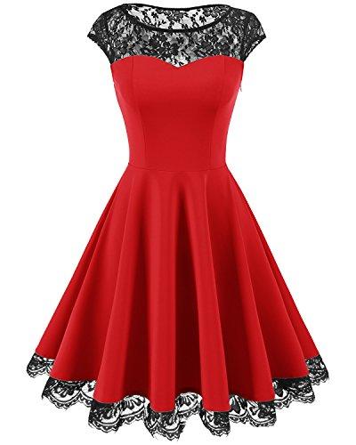 Homrain Damen 1950er Elegant Spitzenkleid Rundhals Knielang Festlich Cocktail Abendkleid Red 2XL