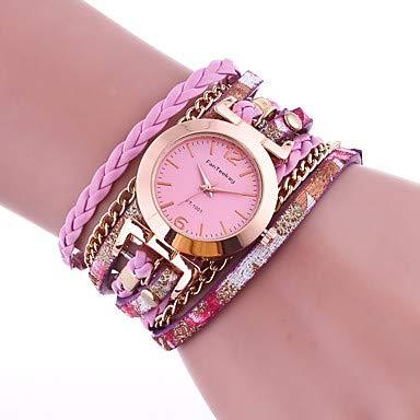 XKC-watches Herrenuhren, Damen Armband-Uhr Quartz Gestepptes PU - Kunstleder Schwarz/Weiß/Blau Armbanduhren für den Alltag Analog Damas Modisch - Blau Rosa Gold (Farbe : Grün)