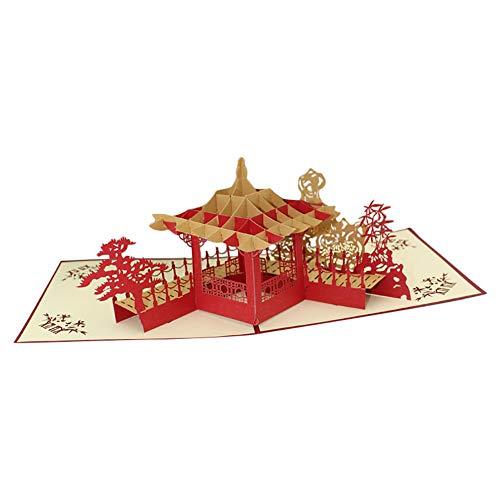 Fansi 1 Stück Grußkarte Kreative 3D Grußkarte Origami Paper-Cut Segen Karte chinesischer Stil Pavillon Garten Grußkarte Geschenk