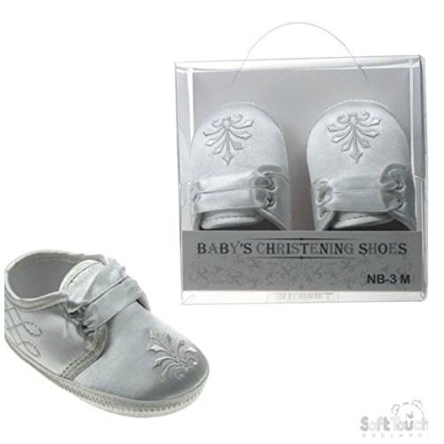 Baby Taufe Schuhe für Jungen oder Mädchen–Zarte Satin Beute oder Schuhe für besondere Anlässe in Größen 0–12M White Fleur de Lis Boot