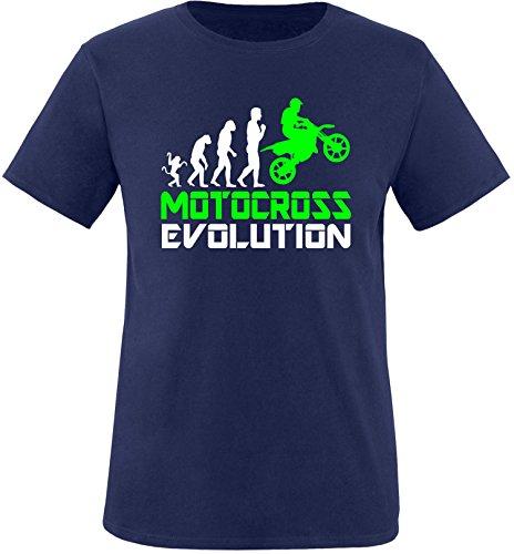 EZYshirt® Motorcross Evolution Herren Rundhals T-Shirt Navy/Weiss/Neongr