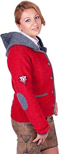 Almwerk Damen Strick Jacke Antonia mit Abnehmbarer Kapuze in Verschiedenen Farben, Größe Damen:4XL - Größe 48;Farbe:Rot/Grau - 3