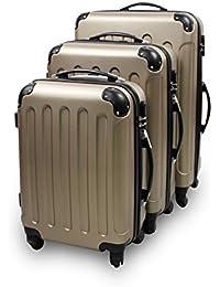 Todeco - Juego de Maletas, Equipajes de Viaje - Material: Plástico ABS - Tipo de ruedas: 4 ruedas de rotación de 360 ° - Esquinas protegidas, 51 61 71 cm, Champán, ABS