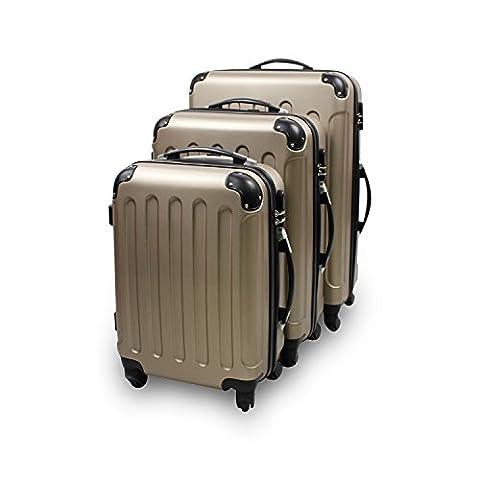 Set de 3 valises Trolley doré - Valises rigides à