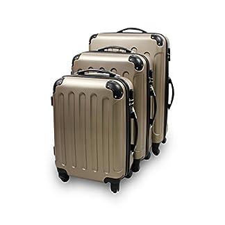Todeco – Juego de Maletas, Equipajes de Viaje – Material: Plástico ABS – Tipo de ruedas: 4 ruedas de rotación de 360 ° – Esquinas protegidas, 51 61 71 cm, Champán, ABS