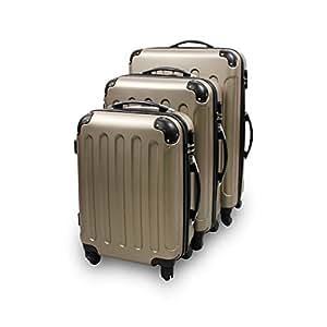 Todeco - Set Di Valigie, Bagaglio Di Corsa - Materiale: Plastica ABS - Ruote: 4-ruote 360° di rotazione - Angoli protettivi, 51 61 71 cm, Champagne, ABS
