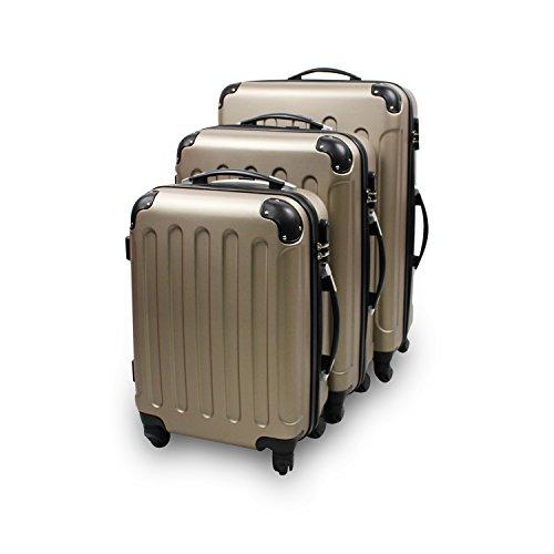 Todeco - Set di valigie da viaggio - Materiale: plastica ABS - Ruote: 4 ruote a rotazione 360° - 51 61 71 cm, champagne, ABS, angoli protetti
