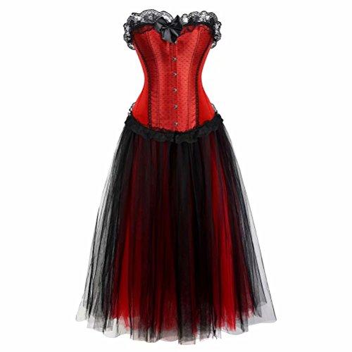 Damen Korsett Kleid lang Tutu Corsagenkleid Bustier Spitzen Corsage zum schnüren Rock Halloween Burlesque Schwarz rot ()