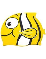 Tinksky Peces de dibujos animados en forma de silicona natación sombrero del casquillo del baño para chico (amarillo)
