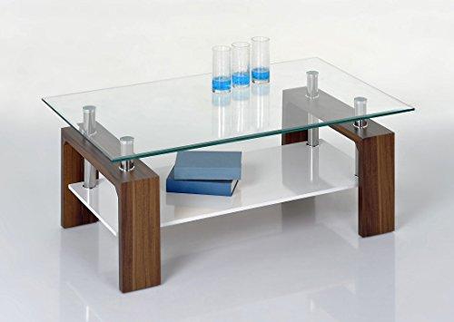 Proline Tische Tommy Couchtisch Nussbaum Klarglas und weiss (Tisch Aus Nussbaum)