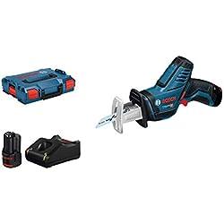 Bosch Professional Scie Sabre Sans Fil GSA 12V-14 (12 V, 2 batteries 3,0 Ah, Longueur de course : 14,5 mm, L-BOXX)
