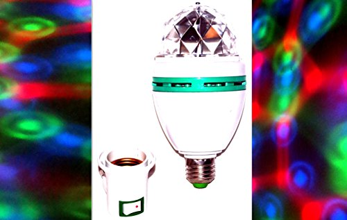 2x LY-399 RGB Rotations Party Licht Lampe Leuchte Discokugel Lichteffekt E27+ Extra Adapter für die Steckdose Neu & OVP
