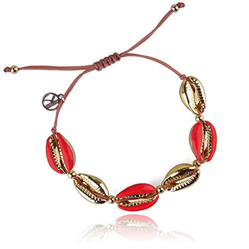 nder Frauen Männer Bunte Metall Conch Bead Einstellbare Handmade String Bangle Freundschaft Charme Armband für Mädchen Herren - Rot ()