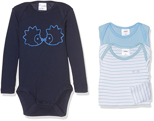 Twins Baby-Jungen Body Langarm, 3er Pack, Blau (Marine 3011), 86