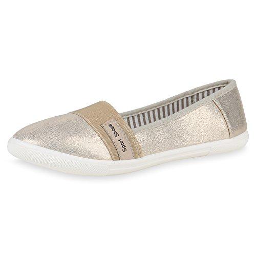 SCARPE VITA Damen Slippers Metallic Slip Ons Ballerinas Flats Freizeit Schuhe 161468 Gold Prints 38 (Ballerina Gold Flats)