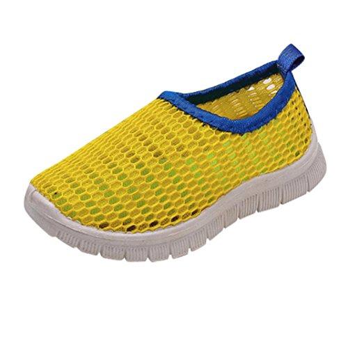 FNKDOR Jungen Mädchen Mesh Schuhe Geschlossene Wasserfest Sandalen Atmungsaktiv Wasserschuhe Badeschuhe (22, Gelb)