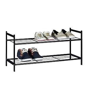 relaxdays schuhregal sandra mit 2 ebenen kleine schuhablage aus metall hbt ca 33 5 x 69 5 x. Black Bedroom Furniture Sets. Home Design Ideas