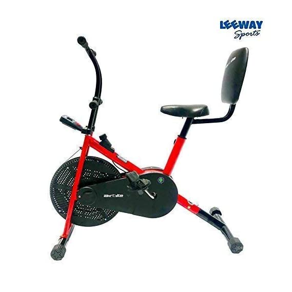 Leeway Air Bike with Back Support| Exercise Cycle| Air Bike| Gym Bike| Deluxe Design Lifeline for Cardio Fitness Work Out| Cross fit Equipment| Air Bike Fix Handle with Back Support - RED