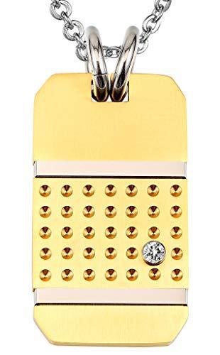 Beydodo Edelstahl Herren Halskette Anhänger Zirkonia Dog Tag 1.9 * 3.4CM Gold Kette für Freunde Partnerkette