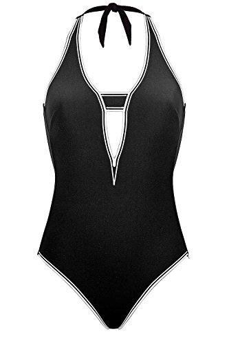 Maryan Mehlhorn Badeanzug mit Neckholder 38 B Black-White (077)
