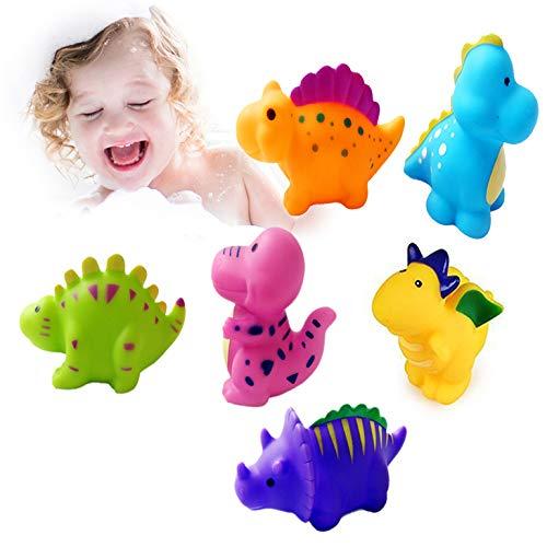 Xrten 6 Stücke Dinosaurier Spritztier Badewannenspielzeug,Baby badespielzeug Badespaß(Farbe zufällig)