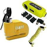 FD-MOT Candado de Disco con Alarma 110DB Dispositivos Antirrobo para Motos Bicicletas con Candado para Moto Grip Lock Cerradura de Seguridad antirrobo Manillar del Acelerador