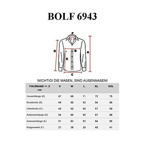 BOLF Herren Freizeithemd Hemd Langarm Slim Fit Classic Casual Kariert 2B2 Schwarz