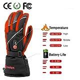 Savior beheizte Handschuhe für Männer und Frauen, Palm Lederhandschuhe für Winterski und Eislaufen , Arthritis Handschuhe und 7.4V 2200 Mah Elektrische wiederaufladbare Batterien Handschuhe (Schwarz) - 4