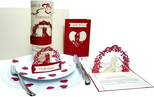 Pop Up 3D Invitations de mariage dans le menu Set 'rouge' - Invitation, support, cartes de table, planche A4 pour texte Imprimer