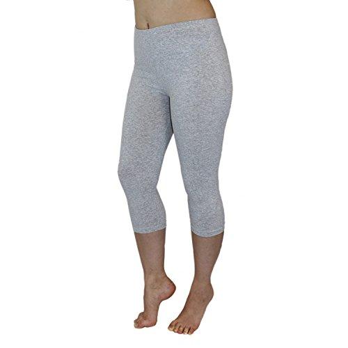 Blickdichte Leggings für Damen Capri Hose Leggins Bunt aus Baumwolle 3/4 Länge, Farbe: Melange / Grau, Größe: 36-38