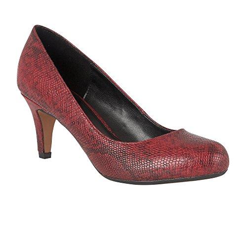 Lotus Cheria Serpente Rosso Stampa Turno-scarpe Decollete 3