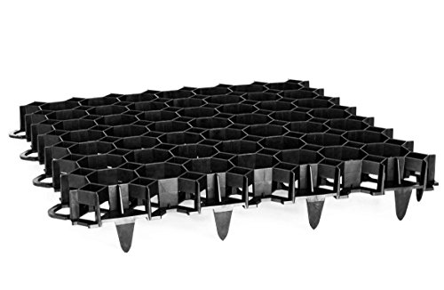 TerraGala 4er Pack Rasengitter (Gesamtfläche: 0,9m²) dunkelgrau, Wabengitter Platten zum Rasen- und Bodenschutz