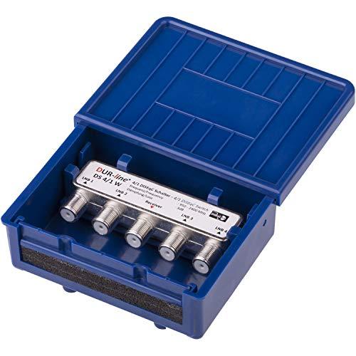 DUR-line 4/1 DiseqC Schalter - im Wetterschutzgehäuse für den Empfang von 4 Satelliten für 1 Teilnehmer - LNB Signal Umschalter/Switch für SAT Receiver - für Multifeed-Anlagen ohne Multischalter