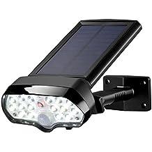 Sunix Luz de solar LED con Sensor de Movimiento de 16 LEDs y 1 led rojo, Luces Solares de impermeable IP65 para Patio Exterior, Pared, Jardín, Porche, Garaje, Terraza