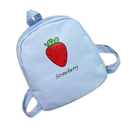 VENMO Mode-Liebhaber Frucht Erdbeere Rucksack Mädchen Schultertasche Umhängetasche (Blue)