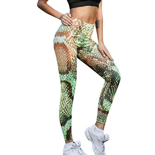 Yogogo Schlange Damen Yoga Leggings Hose Hohe Taille Pants Dünne Hosen Mesh Muster Druck Leggings für Sport Fitness Workout Leggins Elastische Slim Fit Dünne Hosen Sporthose