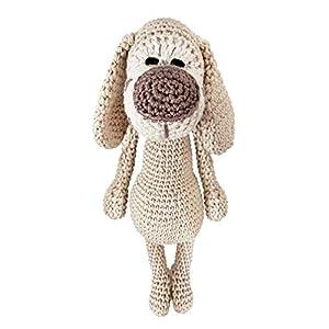 LOOP BABY - gehäkelter beige/brauner Hund - Kuscheltier Hund aus Bio-Baumwolle - Hündchen beige Häkeltier
