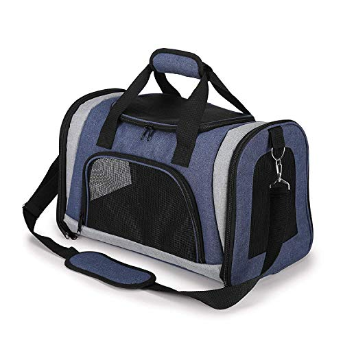 Louvra Hund Tragetasche Katze Transsporttasche Soft Haustier Träger mit Fleece-Pad Klappbar aus 600D Oxford für Katzen Klein Welpen (Schwarz/Blau)